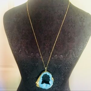 Aqua and gold geode drop necklace